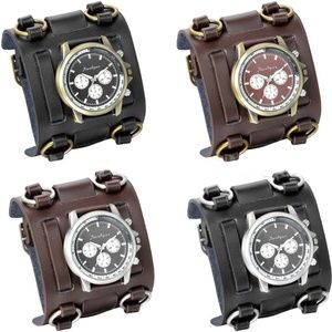 Other - Mens Military Style Wide Leather Band Sports Watch